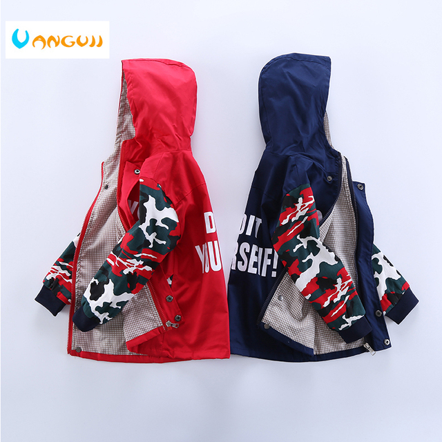 5cbb77016cc8 boys jacket Camo stitching hoodie clothing 3-9 year old boy coat long  sleeve Zipper