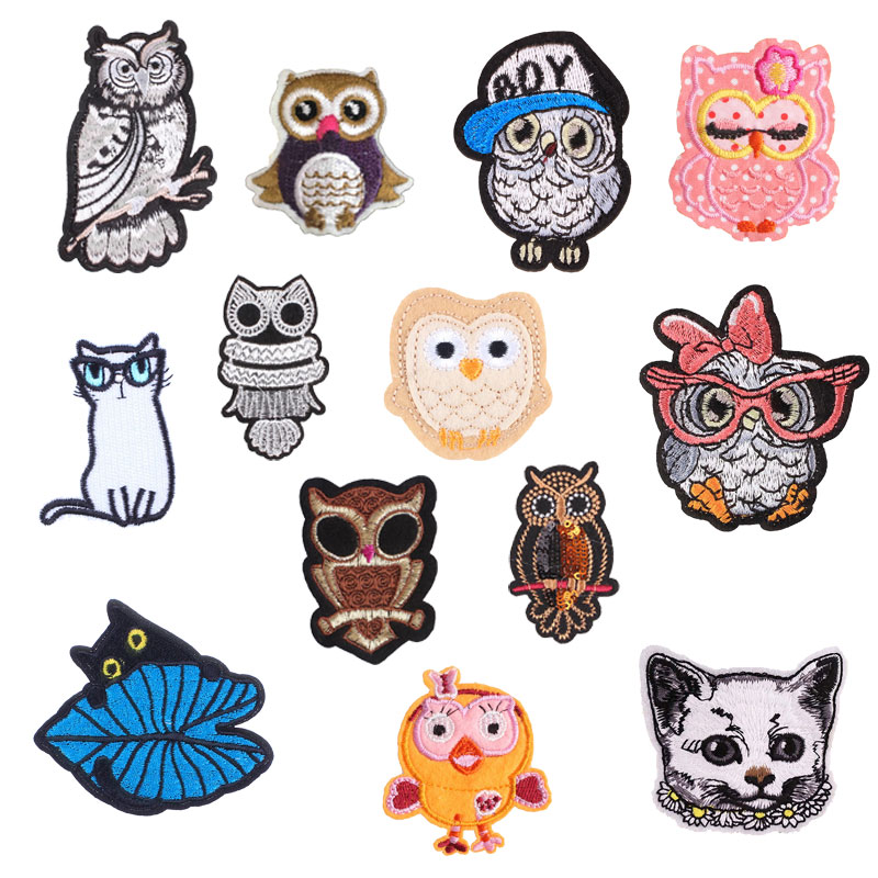 Owl Cat Patch for Clothing Iron on Embroider Sewing Applique Cute Animals Sew Fabric DIY Apparel Patches Accessories Decoration