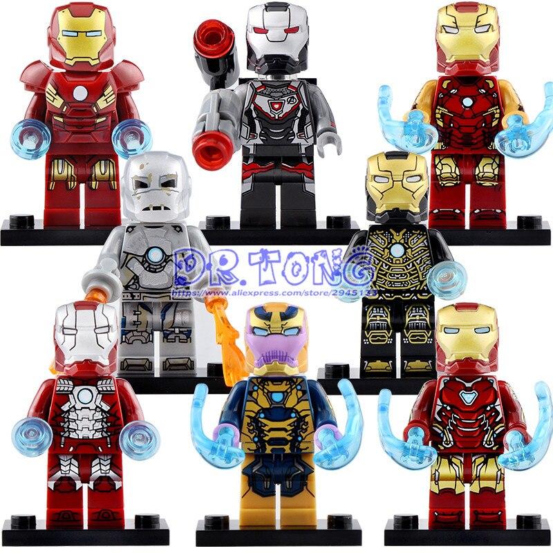 50PCS Super Heroes Iron Man War Machine Action Figures Model Building Blocks For Children Toys Gift X0252
