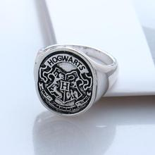 2016 New Hogwarts Bade Seal Death Hallows Ring,the Slytherin School Steampunk Women/Men Cocktail Ring Drop Shipping