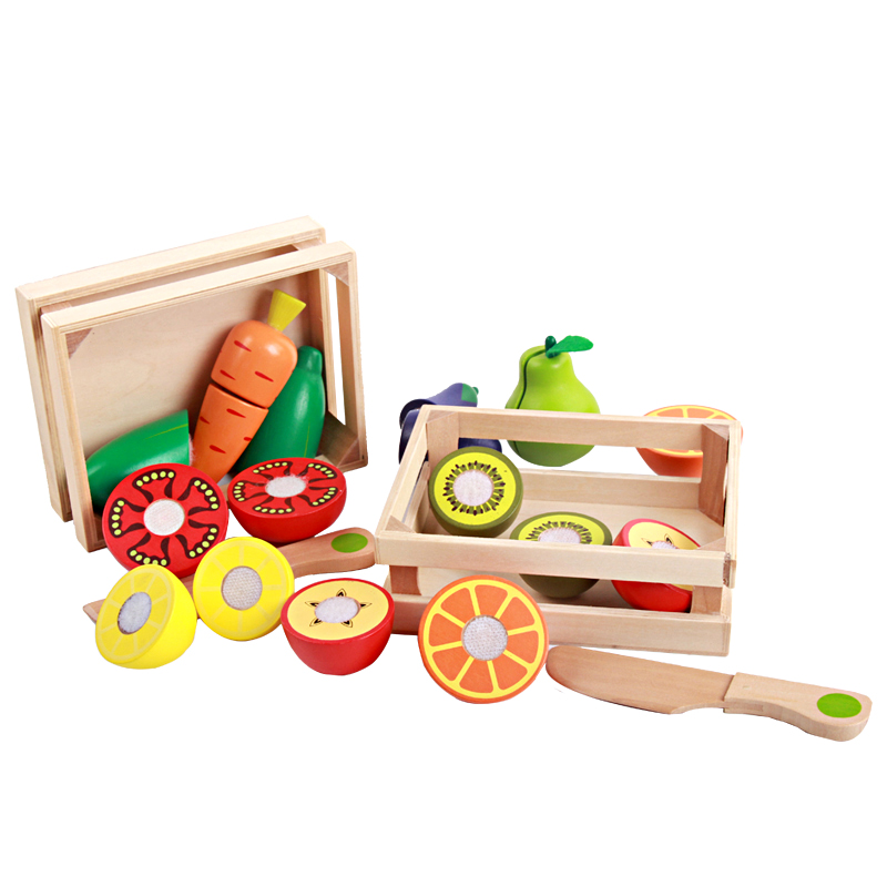 NEW Baby Toys Educational Cutting Fruits/ Vegetable Set Wooden Play Food Kitchen Toys Children Play House Birthday Gift