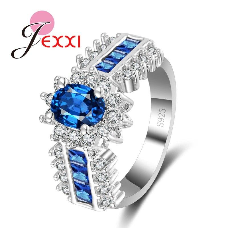JEXXI Для женщин Роскошные свадебные кольца ювелирных изделий AAA австрийского Хрусталя Стерлингового серебра 925 Обручение Обещание Кольца Bague