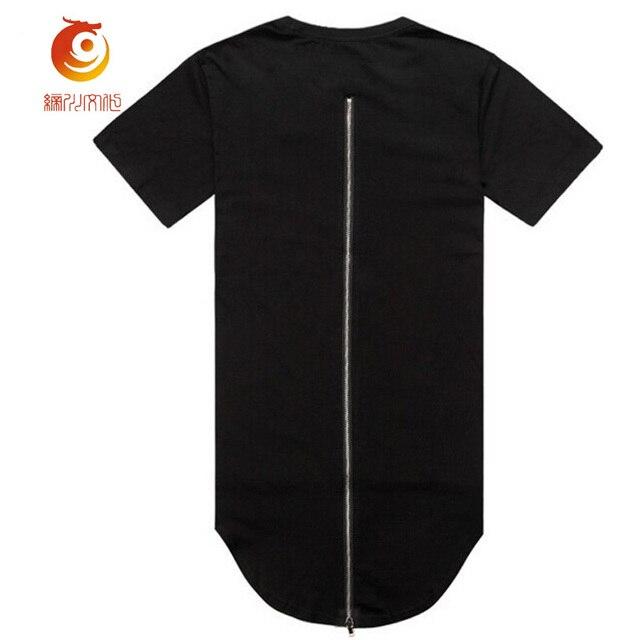 d9a1af193245 Longue Ligne t-shirt À Glissière Streetwear T-shirt À Ourlet Incurvé Marque  Vêtements
