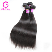Gluna Beauty hair products Peruvian Virgin Straight Hair 3 Bundle Deals Cheap Unprocessed Peruvian Straight Hair Extension Human