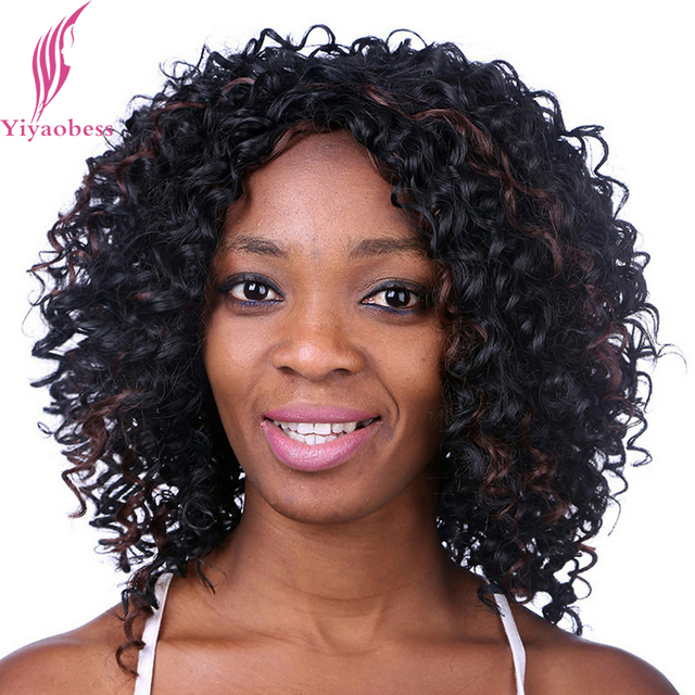 Yiyaobess 35cm Medium Length Hairstyles Curly Wigs For Black Women