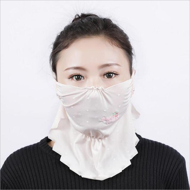 NEW Summer Spring neck protection face mask sun protective Shade anti-dust mouth mask silk Mouth-muffle Mask Flu Face masks 3