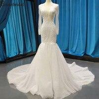 Erosebridal Новое поступление белые свадебные платья 2019 кружевное свадебное платье с длинными рукавами женское свадебное платье Русалка Vestido De