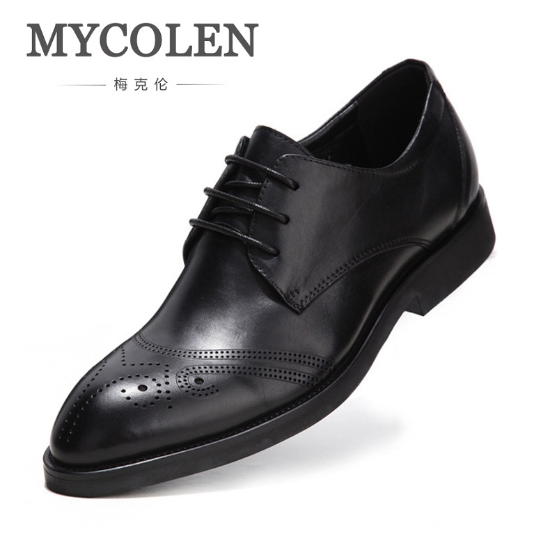 MYCOLEN Men Formal Shoes Genuine Leather Men Shoes Bullock Flats British Style Pointed Toe Men Oxfords Dress Shoes For Men