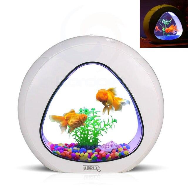 Ecology Fish Tank Integration Filter LED Light System Mini Nano Tank Office Aquarium 6L 110V-240V