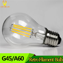 LED Filament Light Bulbs E27 Led Lamp 2W 4W 6W 8W G45 A60 Vintage Glass Edison Ampoule Led Bulb 220V Replace Incandescent Lamp(China)