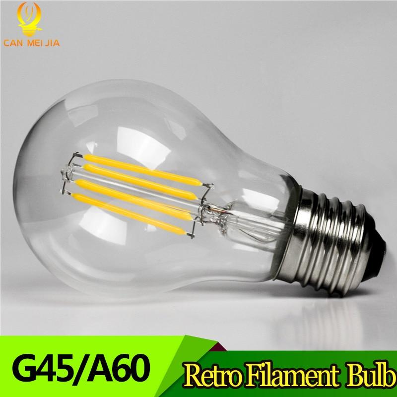 LED Filament Light Bulbs E27 Led Lamp 2W 4W 6W 8W G45 A60 Vintage Glass Edison Ampoule Led Bulb 220V Replace Incandescent Lamp