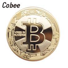 Cobee Биткойн памятная монета сувенирная монета посеребренная латунь металл диаметр 40 мм шифрование валюты