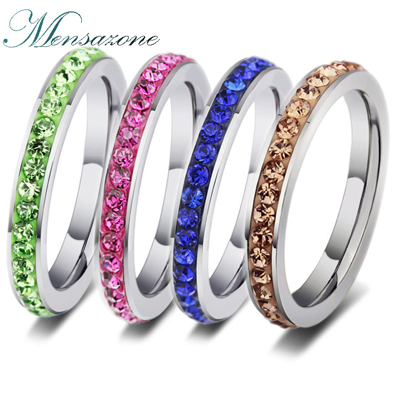 MENSAZONE Fashion Colorful CZ Stone Pink Crystal Stainless Steel Ring For Women Unique Engagement Jewelry