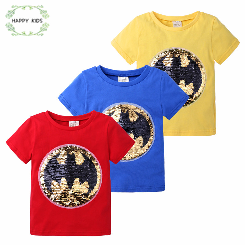 change color magic discoloration shine Cartoon kidsT-shirts sequin paillettes t shirt tops boys tee for birthday gifts DSY381(China)