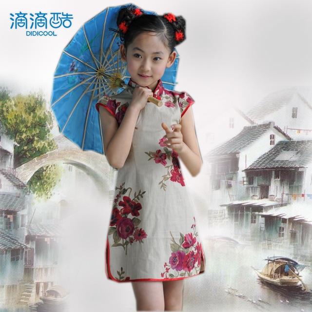 Female child summer female child cheongsam dress tang suit chinese style cheongsam rose