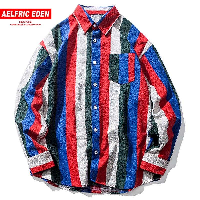 Aelfric Eden Wide Striped Color Block Patchwork Designer Shirts Swag Hip Hop Harajuku Shirts Male Shirt Casual Streetwear FC28