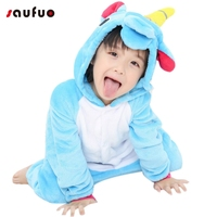 New Blue Kid Animal Unicorn Pajamas Cosplay Halloween Flannel Winter Cartoon Adult Character Onesie Pijama De