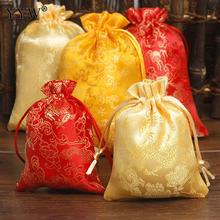 YYW 10Pcs/lot Silk Drawstring Bags Jewelry Packaging Satin Jewelry Packing Bags Wedding Party Decoration Drawable Gift Pouches