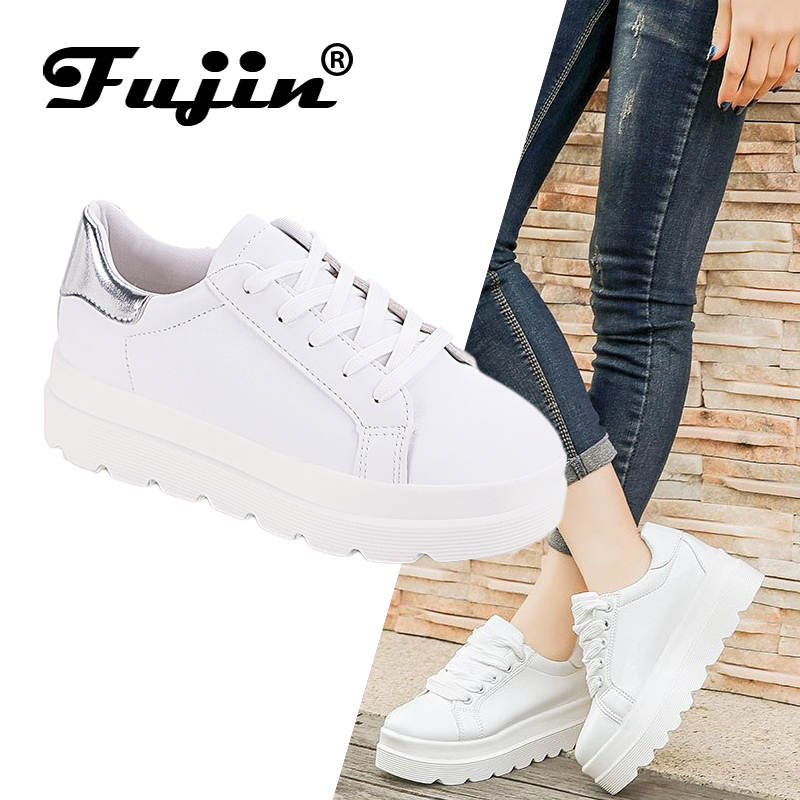 Fujin Women Shoes Spring New Muffin Casual with College-Wind Wild-Tie Small White Thick-Bottomed