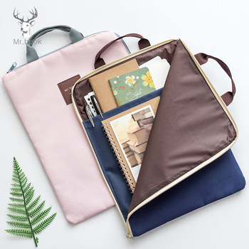 Canvas Document Holder Folder Storage Fabric Pouch for A4 Paper Portable Pocket Bill File Office & School Supplies