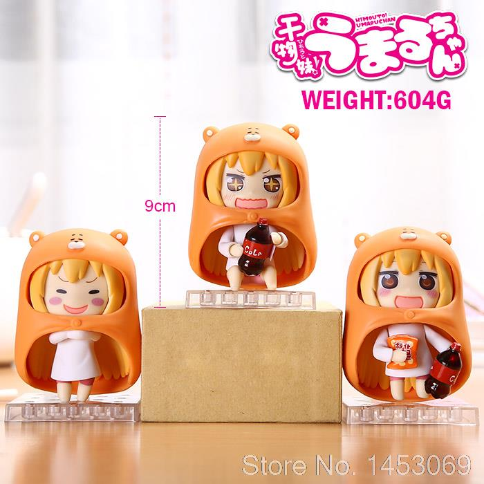 3pcs/set Anime Himouto! Umaru-chan Doma Umaru Q Version PVC Action Figure Collectible Model Toy 9cm KT1769 japan anime himouto umaru chan wallet doma umaru cosplay coin card women men bifold purse