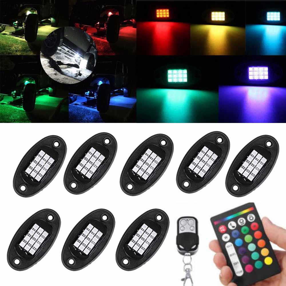 Rock Light Pod LED RGB 16 Million Color Wireless Control for Offroad Jeep & Trucks ...
