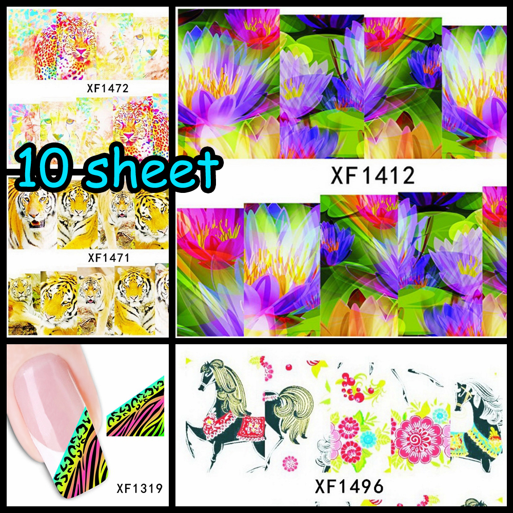 Online get cheap lotus flower nail art stickers aliexpress 9 sheet leopard horse bow lotus flower watermark nail art tips sticker full wraps water transfer dhlflorist Image collections