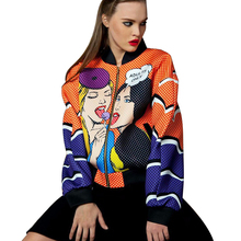 Lvinmw 2016 New Winter Fashion Women Casual Jacket Colored Woman Printing Loose Coat Street Punk Style Jacket Chaquetas Mujer