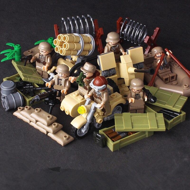 4 in 1 German Army World War 2 Military SWAT Soldier Weapon Gun navy seals Building Blocks Bricks Figures Boy Toy Gift Children