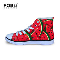 FORUDESIGNS Kawaii Fruits Watermelon Casual Flats Autumn Kids High Top Canvas Shoes for Child Girls Classic Lace up Sneaker Shoe