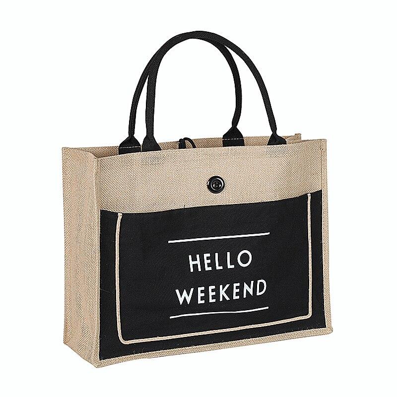 Haute qualité femmes lin luxe fourre-tout grande capacité femme décontracté sac à bandoulière dame quotidien sac à main frais plage Shopping sac