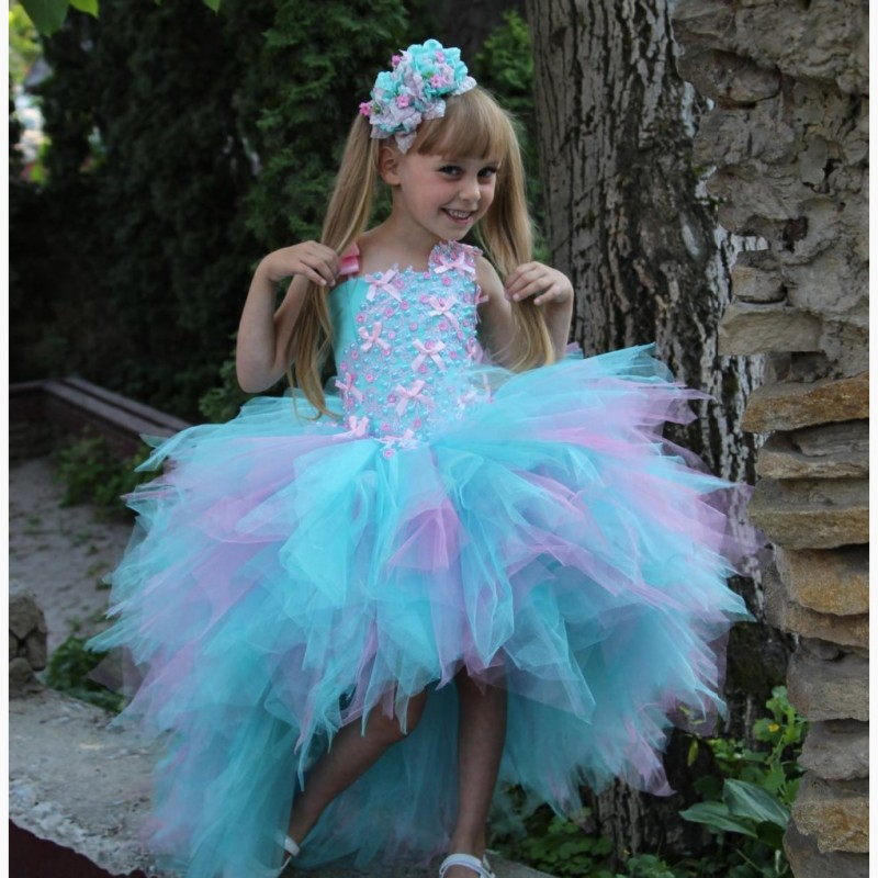 First Communion   Dress   High Low Tulle Ball Gown Pearls Bow Strap Fluffy   Girls   Pageant   Dress   Cute Pink&Blue   Flower     Girl     Dresses