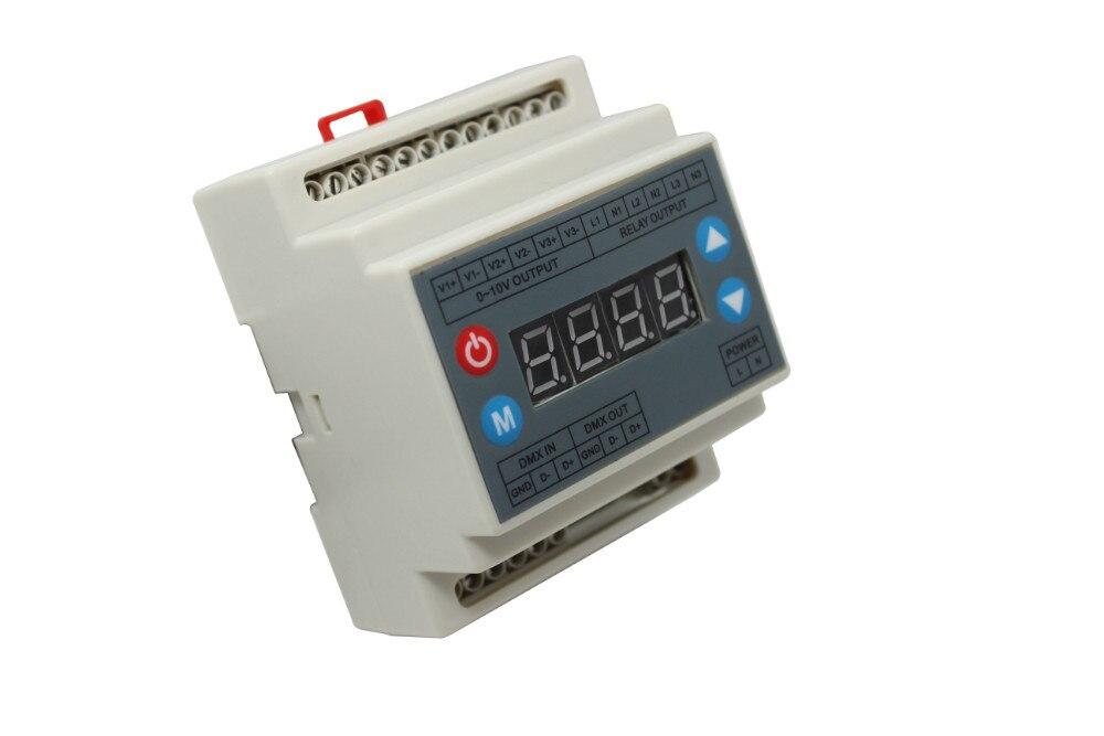 high voltage DMX512 to 0-10V dimmer (3 channels) ;AC90-240V input;dmx512 signal input;3channel 0-10V signal output free shipping 110v 220v 75w 0 10v dimmers 0 10v led driver 0 10v dimmable dimmer 1 channel pn dm9123h v series