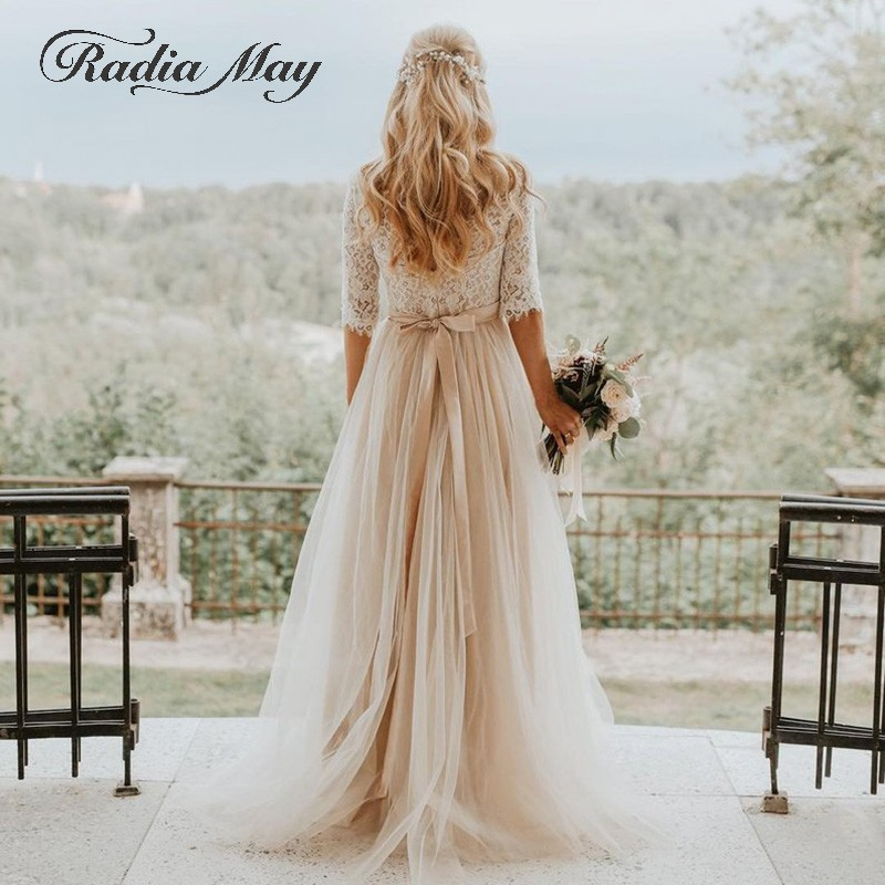<font><b>Sexy</b></font> Backless Champagne Bohemian <font><b>Wedding</b></font> <font><b>Dresses</b></font> with Sleeve A-line Hippie Country Western Bridal Gowns Boho Beach <font><b>Wedding</b></font> <font><b>Dress</b></font> image