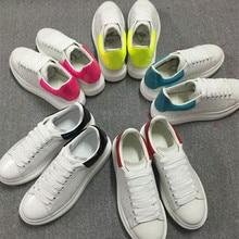 2018 Горячие Повседневное на шнуровке Туфли без каблуков Platfoem обувь Для женщин пара белые туфли смешанных Цвет Удобная прогулочная обувь женская обувь