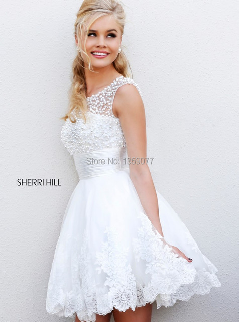 800508ab824 Free Shipping Charming A Line Jewel Collar Sleeveless White Pearls Formal  Party Homecoming Dress 2014 Short Mini Prom Dresses