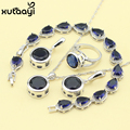 Fashion 925 Silver Jewelry Sets For Women Dark Blue Synthetic Sapphire Angelic Wedding Necklace Rings Earrings Bracelet