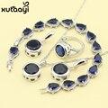 Moda 925 Conjuntos de Jóias de Prata Para As Mulheres Azul Escuro Sintético Safira Angelical Colar Anéis Brincos Pulseira de Noiva