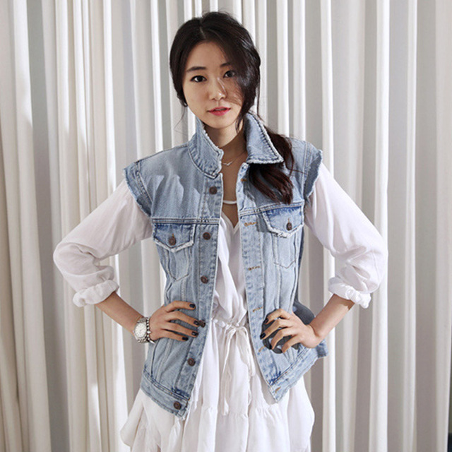 Women Vest 2016 autumn new personality to do the old washed frayed denim vest jacket female loose S2280