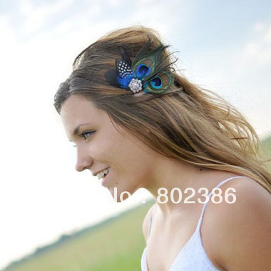 Blue Peacock Feather Fascinator Flower Girl Hair Clips-in Women s ... f9f57bc5ca8