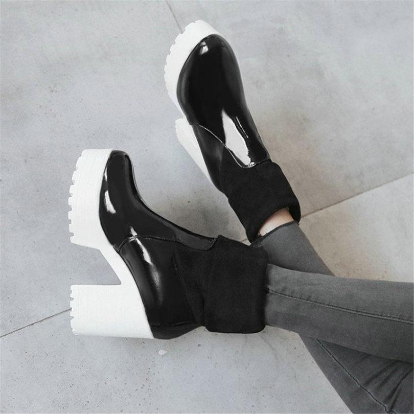 Chaussures Bout Cheville Cuir Bottes Casual Punk forme Plate Hiver Noir Femmes Hauts Black1 Nayiduyun Chunky black2 En Verni Rond Pompes Talons f7xOwS8nq