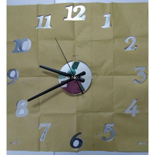 45X45cm Quality acrylic crystal interesting diy clock combination digital wall clock brief quieten Best home decoration gift