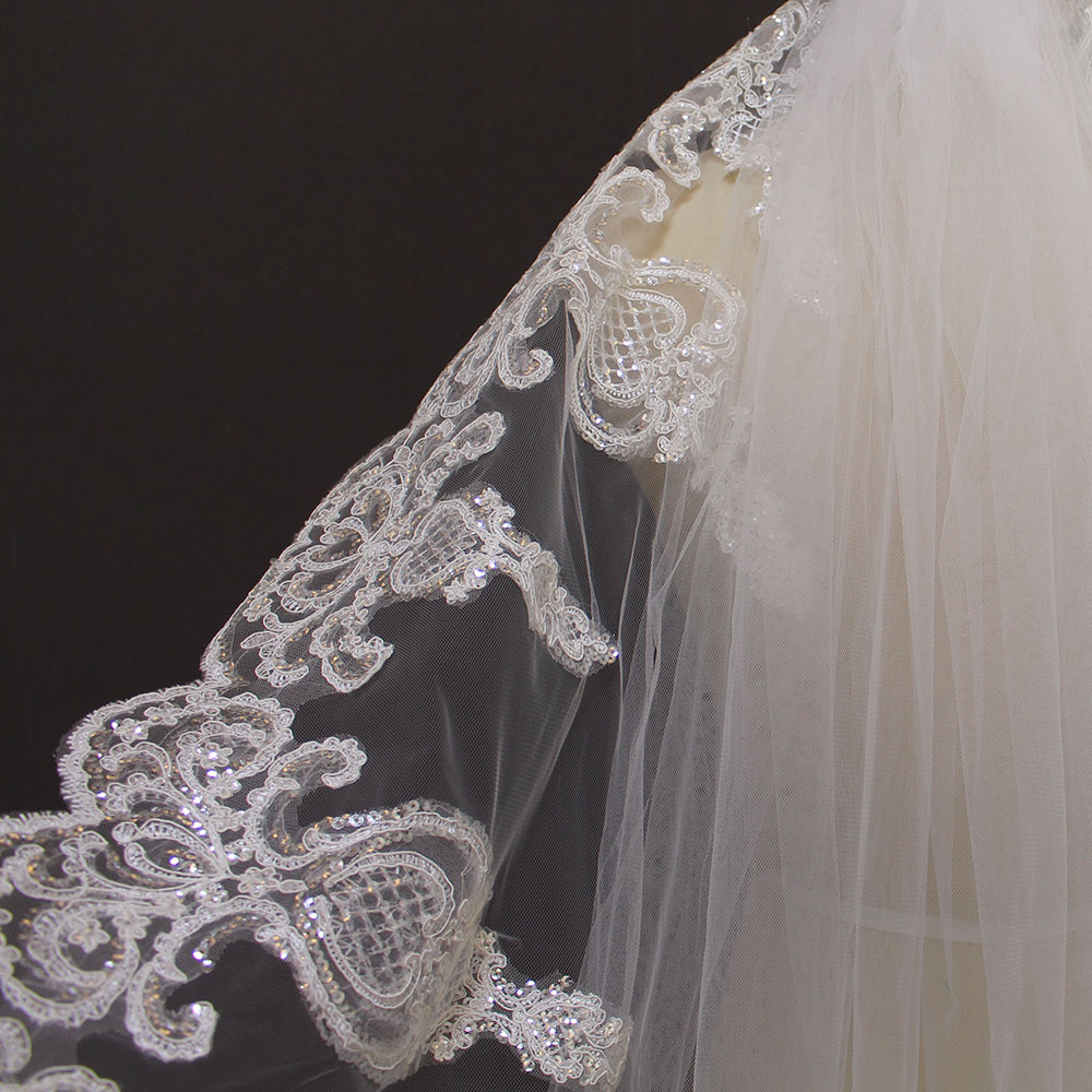 2019 One Layer Lace Edge 3 Meters Bling Sequins Cathedral Veil Dasma - Aksesorë dasme - Foto 4