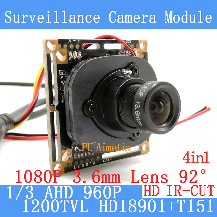4in1 1280*960 1200TVL AHD 960P mini night vision 1/3 HDI8901+T151 Camera Module 2MP 3.6mm Surveillance Camera ODS/BNC cable sheet pet p white 3 4 in t 12 x 12 in