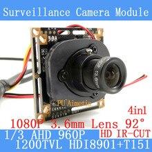 4in1 1280*960 1200tvl AHD 960 P мини ночного видения 1/3 hdi8901 + t151 Камера модуль 2mp 3.6 мм Камеры скрытого видеонаблюдения ОРВ/кабель bnc