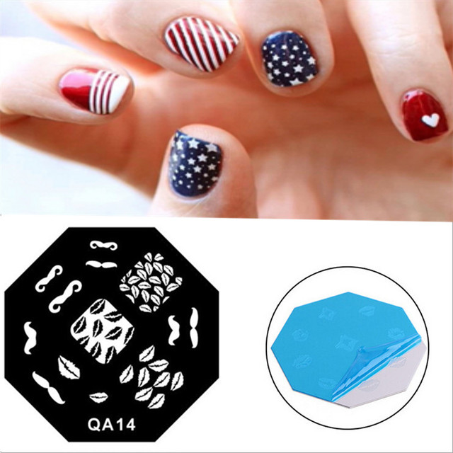 cute mustache lips pattern diy painting nail art stamp stainless
