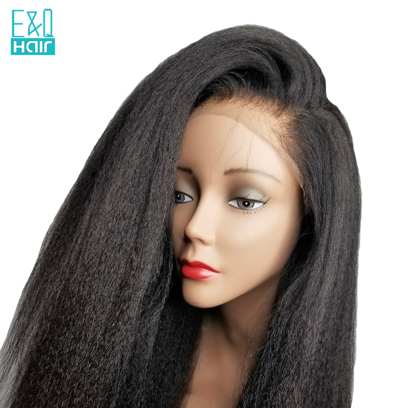 150 Density Pre Plucked Lace Front Human Hair Wigs For Women Kinky Straight Remy Hair With
