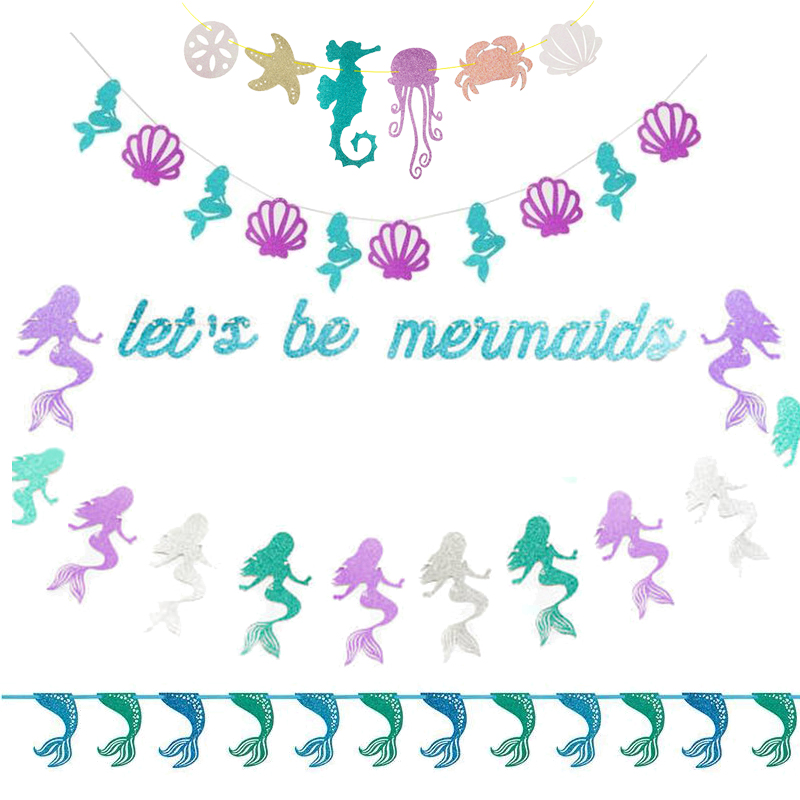 1set Mermaid Paper Banner Girl Birthday Party Decoration