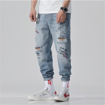 Men's Style High-end quality Ink G Cattle Men's fashion Ripped jeans Motorcycle Fitness Wear Jeans New fashion Jeans Casual Pant