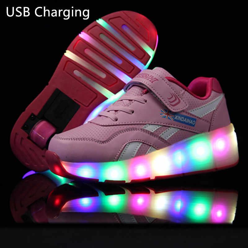 Shoese สีชมพูสีดำ USB ชาร์จแฟชั่นสาวเด็กชาย LED Light Roller รองเท้าสเก็ตรองเท้าสำหรับเด็กรองเท้าผ้าใบล้อ One ล้อ